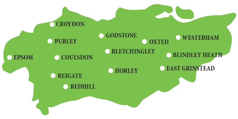 Map of Surrey & East Sussex